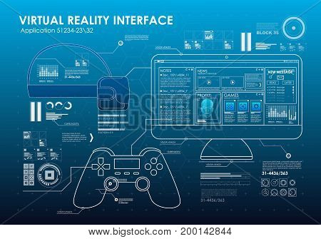 HUD portable virtual reality glasses. Futuristic user interface. Abstract virtual graphic touch user interface for VR. UI hud infographic interface screen monitor set elements for motion design