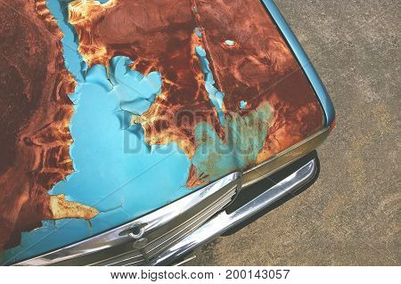 Rusted Car Hood on a Thai Street.