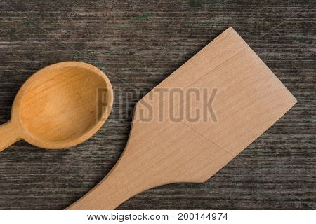 Handmade Wooden Spoons On A Wooden Board, Kitchen Tools