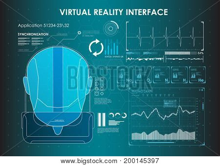 set of HUD elements for virtual reality. VR glasses. Futuristic user interface. Abstract virtual graphic touch user interface for VR. UI hud infographic interface screen monitor set web elements
