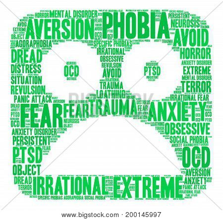 Phobia word cloud on a white background.