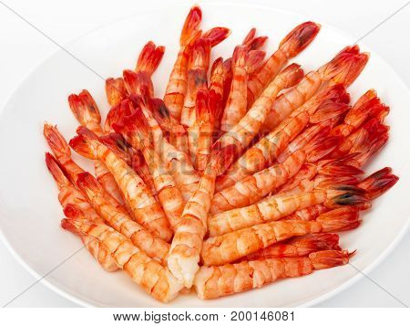 Tiger Prawns. Delicious Gourmet Food On The Table. Gourmet Cuisine In White Dish. Creative Restauran