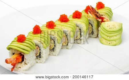 Sushi. Delicious Gourmet Food On The Table. Gourmet Cuisine In White Dish. Creative Restaurant Conce