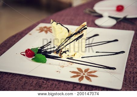 Cake. Delicious Gourmet Food On The Table. Gourmet Cuisine In White Dish. Creative Restaurant Concep