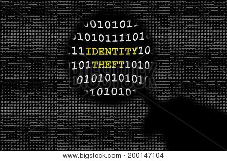 Shadow of hand holding magnifying lens over binary code and identity theft text