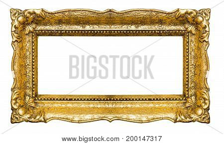 Big and old gold picture frame isolated on white