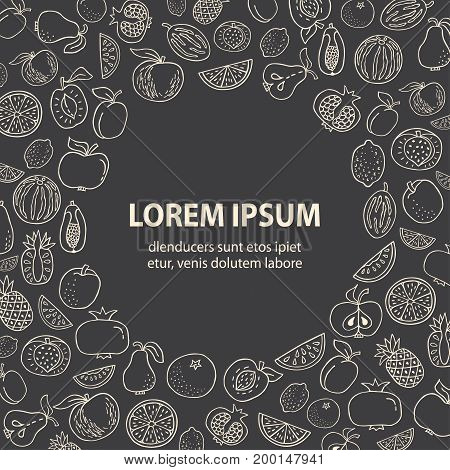 Poster template with Hand drawn fruit on black background. Various organic product in a circle place for text. Unique line style vector. Organic product for healthy food concept
