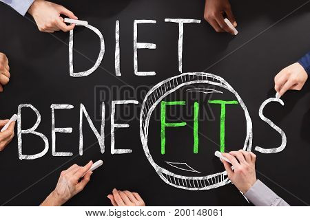 People Drawing Diet And Weight Loss Concept