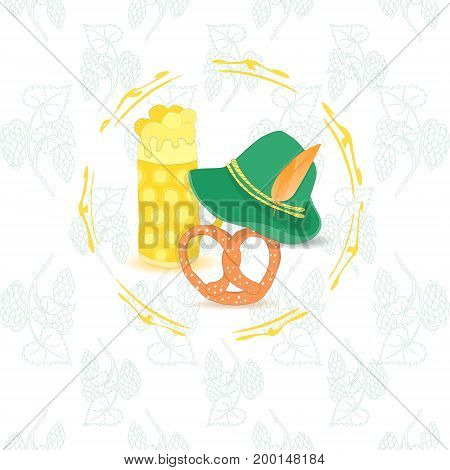 Oktoberfest Leaflet with Three Traditional Symbolic Objects Placed in Frame. Background with Contour Hop Twigs. Vector EPS 10
