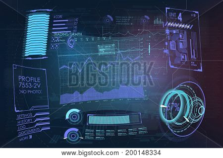 Abstract future, concept vector futuristic blue virtual graphic touch user interface HUD. futuristic user interface. Vector science Polygonal background. Futuristic HUD background.