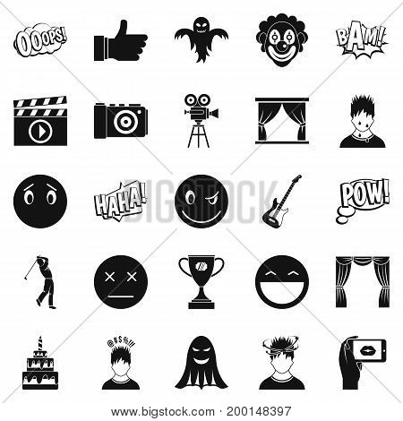 Affective icons set. Simple set of 25 affective vector icons for web isolated on white background