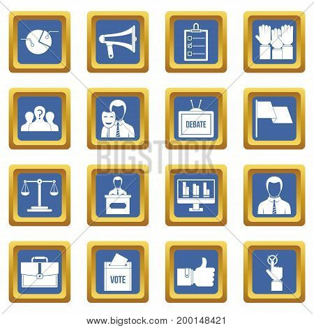 Election voting icons set in blue color isolated vector illustration for web and any design