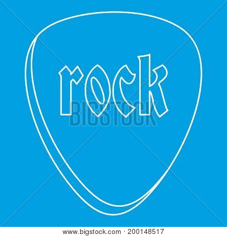 Rock stone icon blue outline style isolated vector illustration. Thin line sign