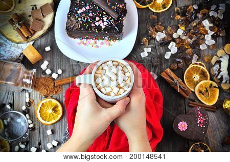Cup of hot chocolate with white marshmallow in female hands over the table top view