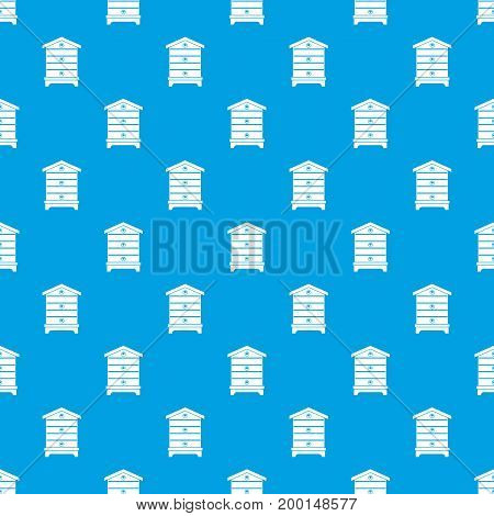 Hive pattern repeat seamless in blue color for any design. Vector geometric illustration