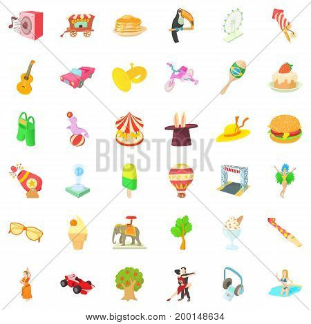 Fun park icons set. Cartoon style of 36 fun park vector icons for web isolated on white background
