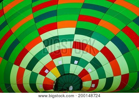 inside in a coloful hot air balloon