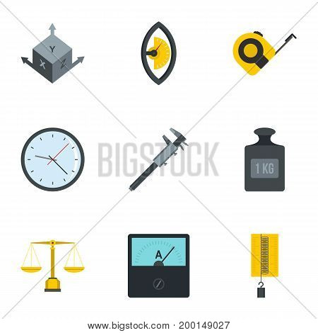 Measuring icon set. Flat style set of 9 measuring vector icons for web isolated on white background