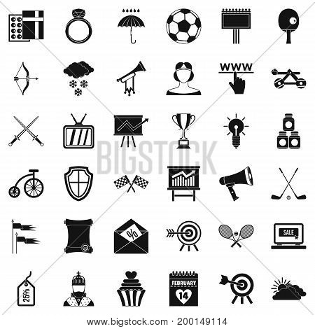 Arrow and bow icons set. Simple style of 36 arrow and bow vector icons for web isolated on white background