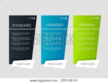 web banners. Price list, hosting plans and web boxes banners design. three tariffs. interface for the site. ui ux vector banner for web app.