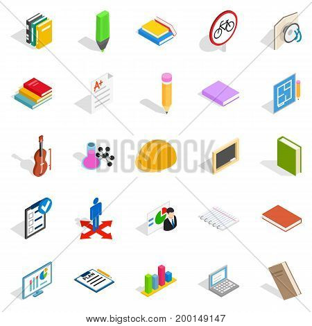 Educational institution icons set. Isometric set of 25 educational institution vector icons for web isolated on white background
