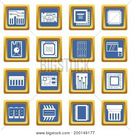 Computer chips icons set in blue color isolated vector illustration for web and any design