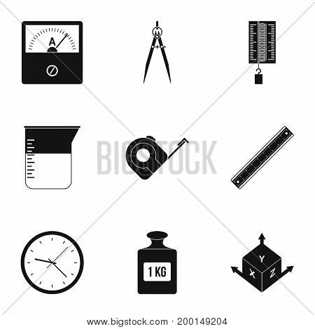 Measure instrumentation icon set. Simple style set of 9 measure instrumentation vector icons for web isolated on white background