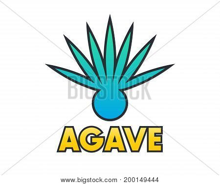 Agave plant element for logo design on white, eps 10 file, easy to edit