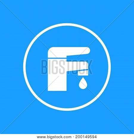 Faucet icon in circle, eps 10 file, easy to edit