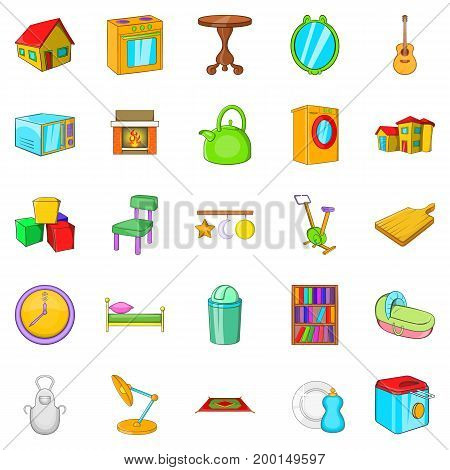 Pleasant rest icons set. Cartoon set of 25 pleasant rest vector icons for web isolated on white background