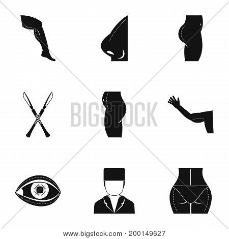 Plastic surgery icon set. Simple style set of 9 plastic surgery vector icons for web isolated on white background