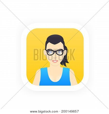 Avatar icon in flat style, cartoon girl in glasses, vector illustration