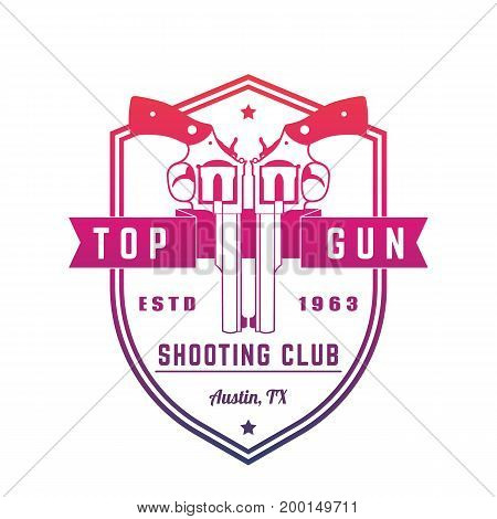 Gun club vintage logo on white, emblem with revolvers, eps 10 file, easy to edit
