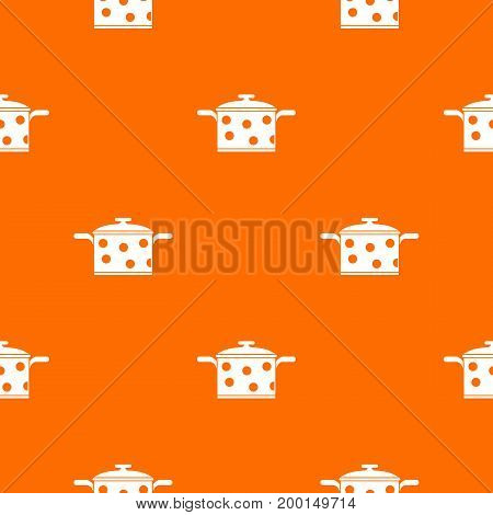 Saucepan with white dots pattern repeat seamless in orange color for any design. Vector geometric illustration