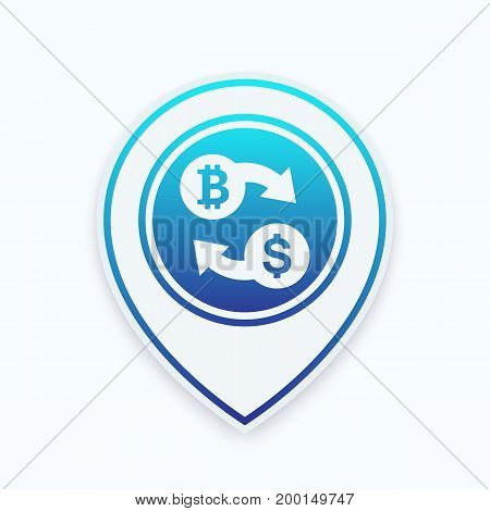 Bitcoin to USD exchange icon on marker, vector illustration