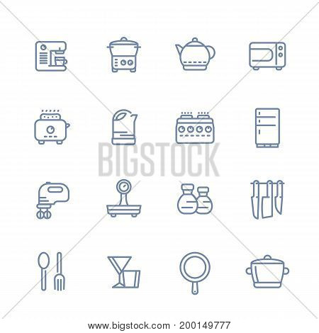 kitchen line icons set isolated over white, cooking related objects, utensils, tableware, tools, flatware, cookware, pan, kettle