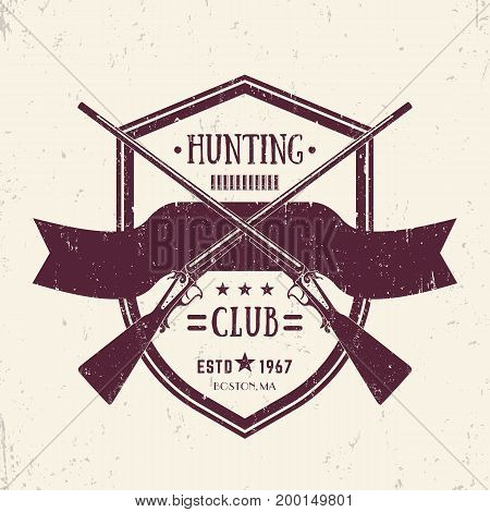 Hunting club vintage logo with two crossed old rifles, vector retro emblem