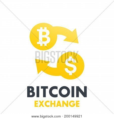 Bitcoin to dollar exchange vector symbol over white, eps 10 file, easy to edit