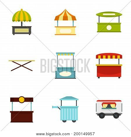 Market tent icon set. Flat style set of 9 market tent vector icons for web isolated on white background