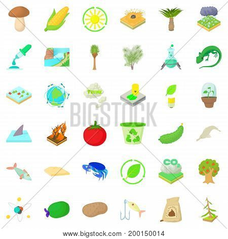 Biology in nature icons set. Cartoon style of 36 biology in nature vector icons for web isolated on white background