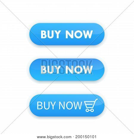buy now, blue vector buttons for web design on white, eps 10 file, easy to edit