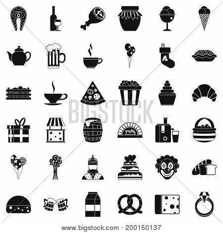 Present icons set. Simple style of 36 present vector icons for web isolated on white background