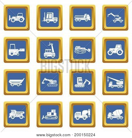 Building vehicles icons set in blue color isolated vector illustration for web and any design