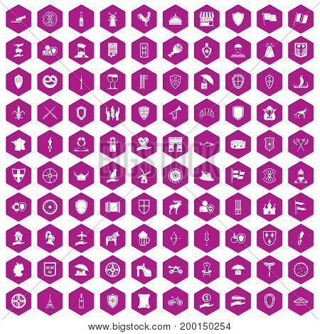 100 shield icons set in violet hexagon isolated vector illustration