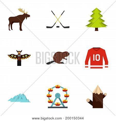 Canadian symbols icon set. Flat style set of 9 canadian symbols vector icons for web isolated on white background