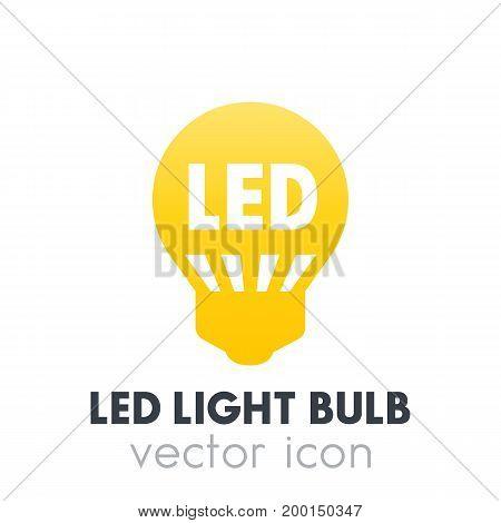 led light bulb icon, vector pictogram over white, eps 10 file, easy to edit