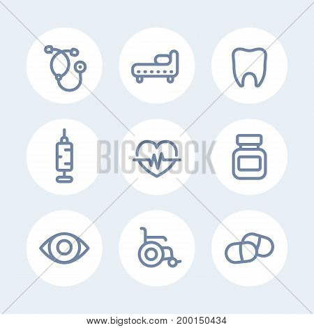 medical icons set in line style over white, eps 10 file, easy to edit