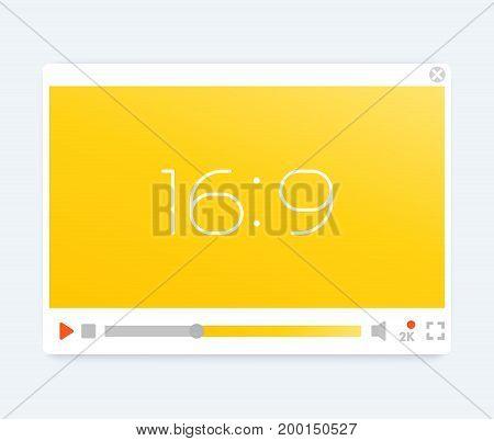 video player interface, light modern template, vector illustration