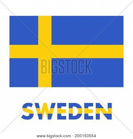 Sweden Flag over white, eps 10 file, easy to edit