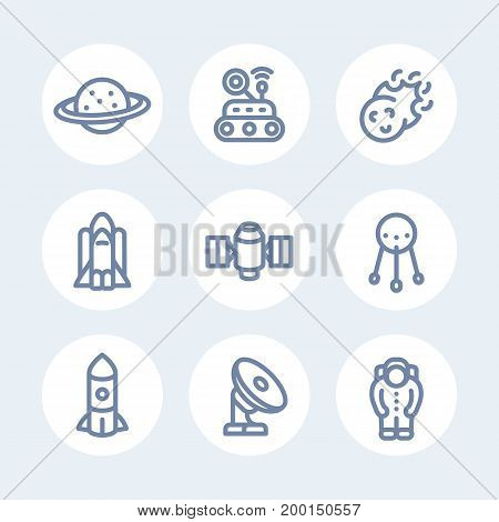 Space line icons set over white, comet, astronaut, satellite, space probe, shuttle, rocket, planet with asteroid belt, radio telescope